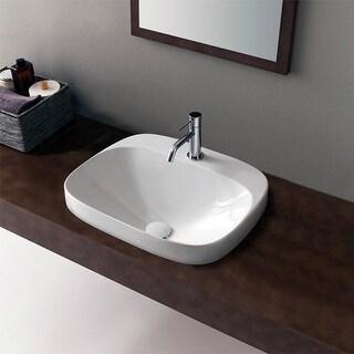 "Nameeks 5511 Scarabeo 16-1/2"" Ceramic Bathroom Sink For Deck Mounted Installation - Less Overflow"