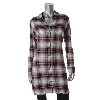 BB Dakota Womens Plaid Hi-Low Shirtdress