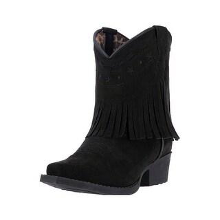 Laredo Western Boots Girls Zena Black Fringe Cowgirl Black LC2285