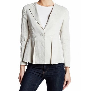 Theory NEW White Ivory Womens Size 6 Braneve Pleated One-Button Blazer