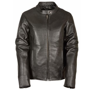 Womens Classic Leather Snap Collar Scooter Style Jacket (More options available)