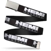 Blank Chrome Bo Buckle Hemi Powered Logo Black Gray White Webbing Web Web Belt