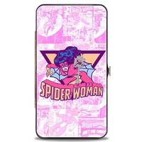 Marvel Comics Spider Woman Action Pose Stacked Comic Book Covers Pinks Hinge Wallet One Size - One Size Fits most