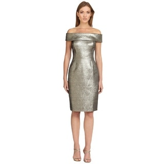 Teri Jon Metallic Jacquard Off Shoulder Sheath Cocktail Evening Dress - 6
