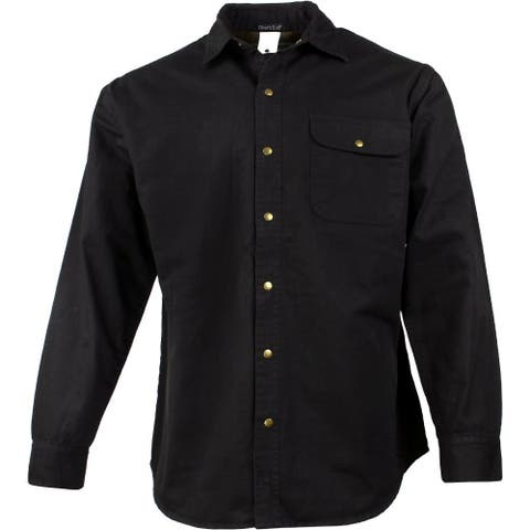 River's End Mens Canvas & Flannel Shirt Jacket Casual Outerwear T-Shirt