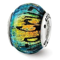 Sterling Silver Reflections Santa Cruz Dichroic Glass Bead (4mm Diameter Hole)