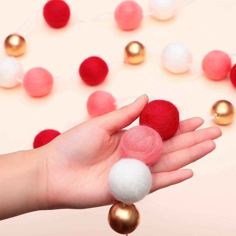 4 Pieces Valentine S Day Felt Ball Garland On Sale Overstock 32808335