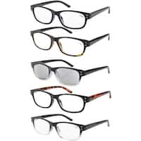 Eyekepper 5-pack Spring Hinges Acetate Reading Glasses Includes Sunglasses Readers +1.75