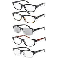Eyekepper 5-pack Spring Hinges Acetate Reading Glasses Includes Sunglasses Readers +2.50