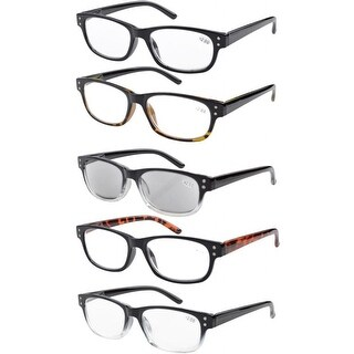 Eyekepper 5-pack Spring Hinges Acetate Reading Glasses Includes Sunglasses Readers +4.00