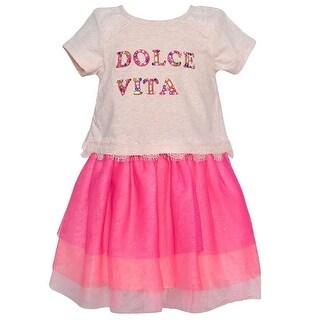Rare Editions Little Girls Ivory Fuchsia Sparkly Lace Trim Stylish Dress