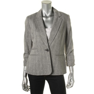 Nine West Womens Linen Blend Herringbone One-Button Blazer