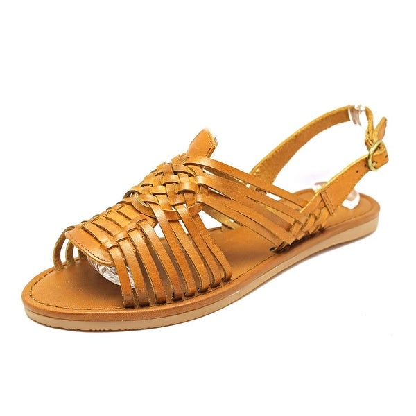Mia Heritage Budapest Women Open-Toe Leather Tan Slingback Sandal