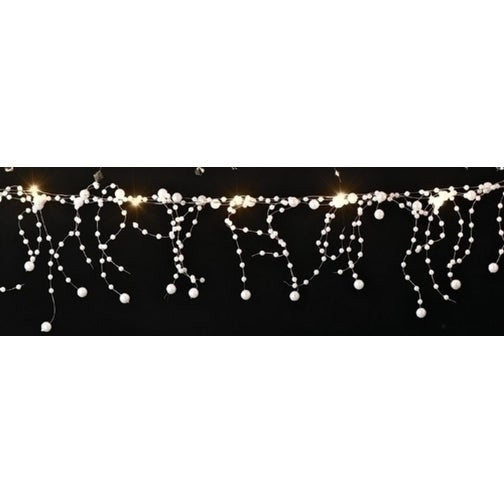 6' Battery Operated LED Lighted White Faux Pearl Beaded Christmas Garland - Gold Wire