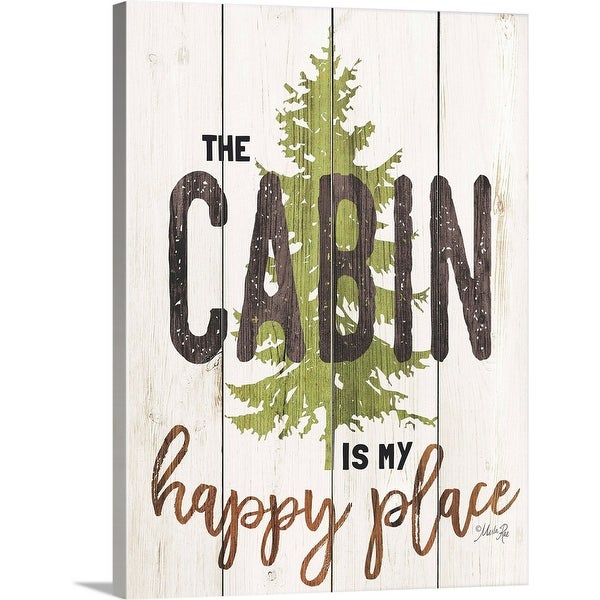 """""""The Cabin is My Happy Place"""" Canvas Wall Art"""