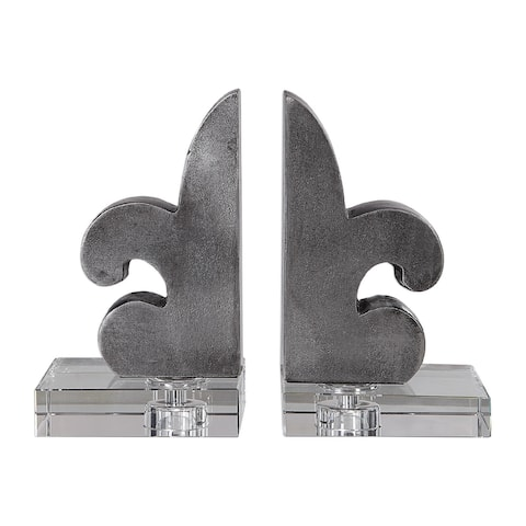 Set of Two Silver Lacquered Fleur-De-Lis French Bookends 8.5