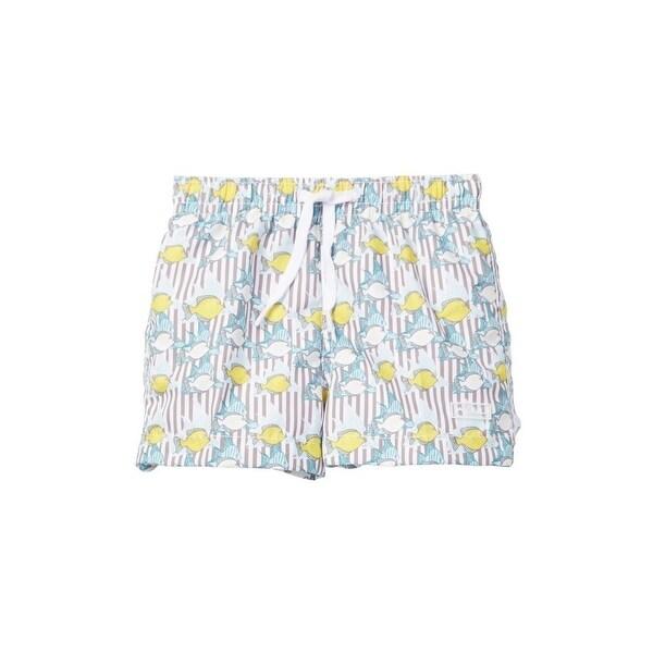 Azul Baby Boys Khaki Lemon Fish Print Elastic Band Drawstring Swim Shorts