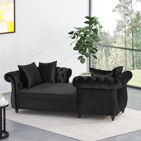 Houck Modern Glam Tufted Velvet Tete-a-Tete Chaise Lounge with Accent Pillows by Christopher Knight Home