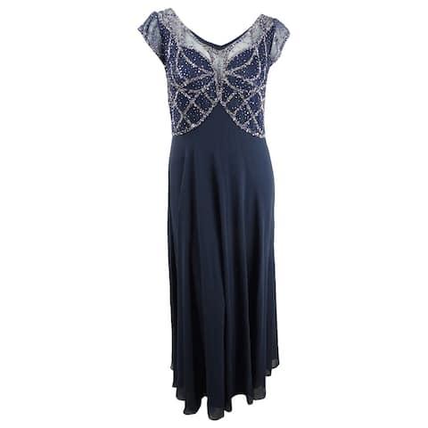 J Kara Women's Embellished Illusion Gown (10, Navy/Mercury)