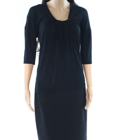 Nine West Black Womens Size Small S Pleated Neck Stretch Blouse