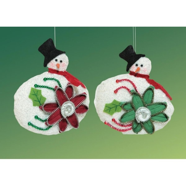 Pack of 6 Decorative Glittered Snowmen with Zipper Flower Christmas Ornaments