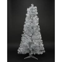 4' Silver Iridescent Tinsel Slim Artificial Christmas Tree - Unlit