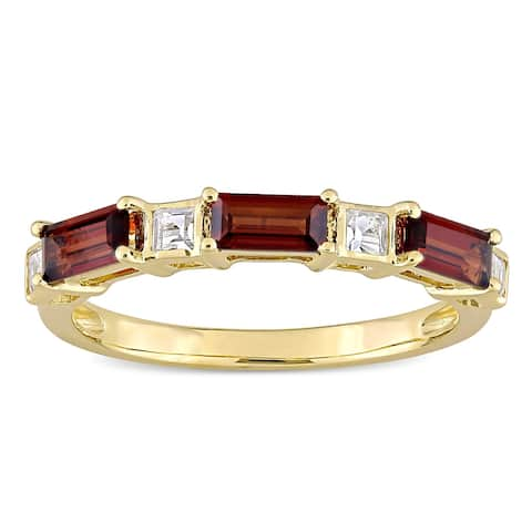 Miadora 10k Yellow Gold Baguette & Square-cut Garnet & White Topaz Stackable Eternity Wedding Band