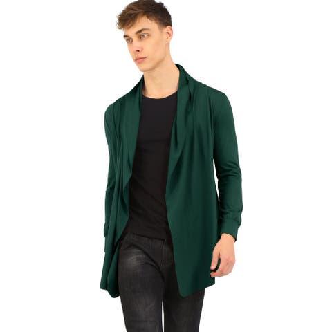 Men Shawl Collar Open Front Pockets High-Low Hem Long Cardigan
