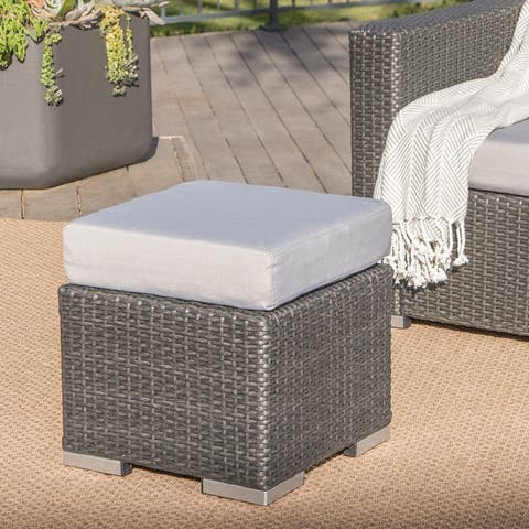 Santa Rosa Wicker Outdoor Ottoman by Christopher Knight Home