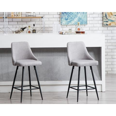 Sanas Grey Upholstered Full Back Dining Bar Chairs (Set of 2)