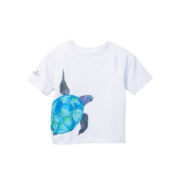 Azul Baby Boys White Aqua Sea Turtle Short Sleeve Rash Guard