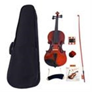 Glarry 1/4 Acoustic Violin Case Bow Rosin Strings Tuner Shoulder Rest