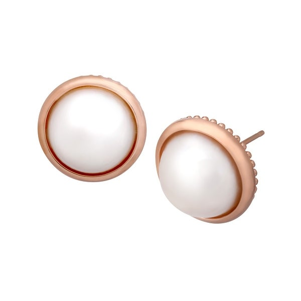 13-14 mm Freshwater Pearl Stud Earrings in 18K Rose Gold-Plated Bronze