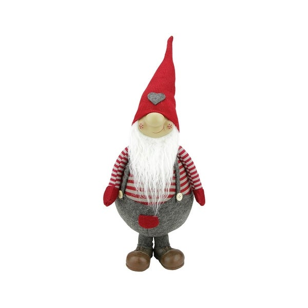 """15"""" Red and Grey Striped """"Gilbert"""" Standing Chubby Santa Gnome Table Top Christmas Figure"""
