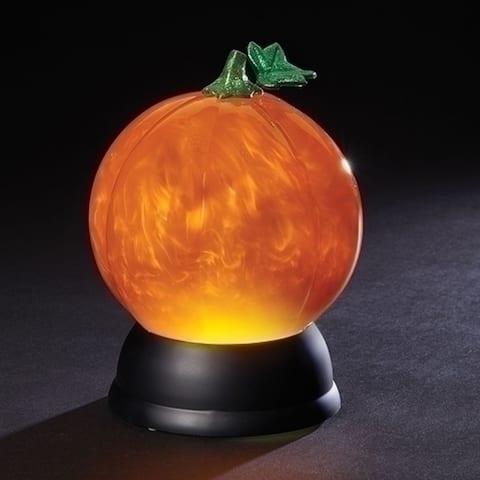 7 Orange LED Pearl Swirl 100 mm Battery Operated Halloween Pumpkin Globe Light