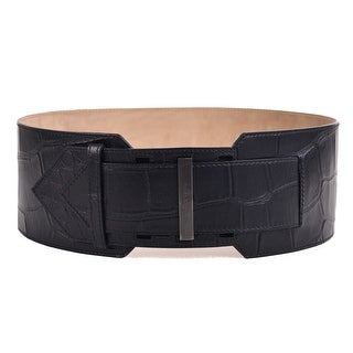 Givenchy Womens Black Leather Croc Embossed Waist Belt