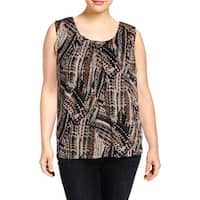 Kasper Womens Plus Pullover Top Metallic Printed