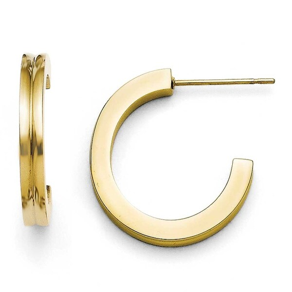 Chisel Stainless Steel Yellow IP-plated J-Hoop Earrings