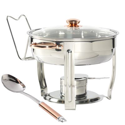 Celebrations by Denmark 8PC 4Qt Stainless Steel Round Chafing Dish