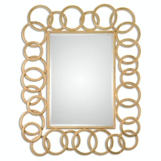 "52"" Aretha Large Beveled Rectangular Mirror with Gold Metal Ring Frame"