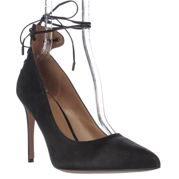 Nine West Ebba Ankle Tie Dress Pumps, Black/Black