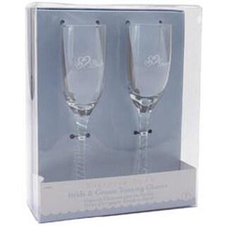 "Bride & Groom Champagne Glasses 8""-"