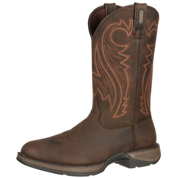 "Durango Western Boot Mens 12"" Rebel Leather Round Toe Chocolate"