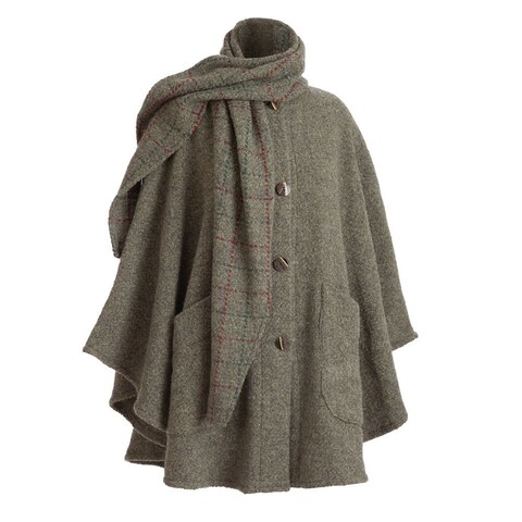 Women's Clare Cape - Wool Alpaca Button Down Jacket with Scarf - Medium