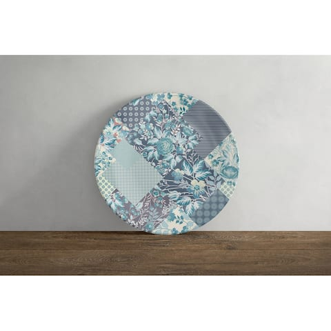 Amrita Sen Arizona Floral Patches 10 in Decorative Microwave Safe Thermosaf Dinner Plate