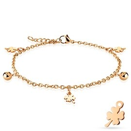 Shamrock and Ball Dangling Charm Rose Gold Stainless Steel Anklet/Bracelet (13.5 mm) - 9.25 in
