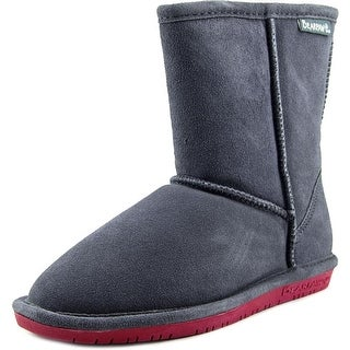 Bearpaw Emma Short Youth Round Toe Suede Gray Winter Boot