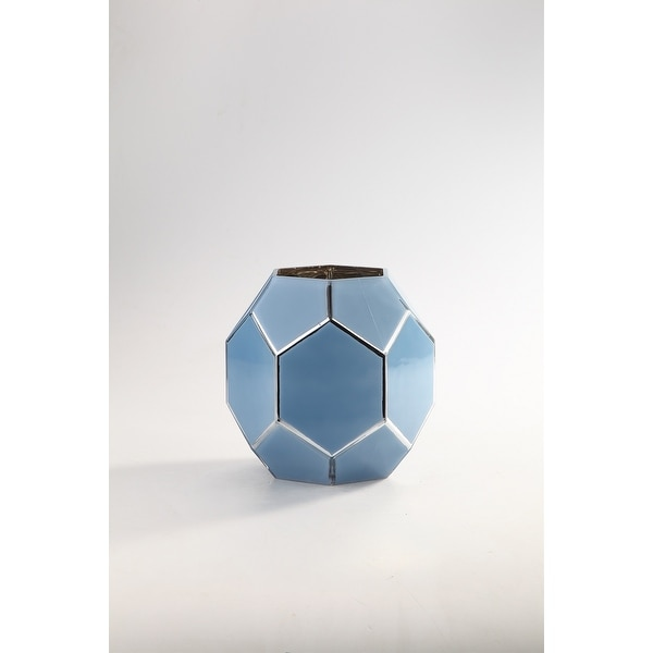 """9"""" Blue and Silver Geometric Hand Blown Glass Vase - N/A"""