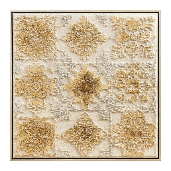 "Beige and Silver Colored Square Framed Agatha Wall Art Decor 19.75"" - N/A"