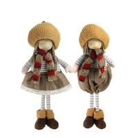 """2-Piece Set of Thanksgiving Autumn Standing Boy and Girl Gnomes with Pumpkin Hats 15"""" - multi"""